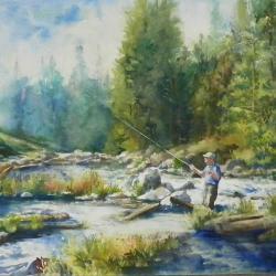 "Autumn on the River 16""x20"" watercolor on Aqua Bird"