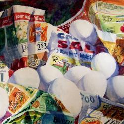 "Bargain Shopper 16""x20"" watercolor"
