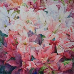 "Summer Celebration 16""x16"" watercolor"