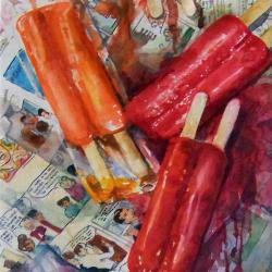 "Falling Popsicles 10""x20"" watercolor"