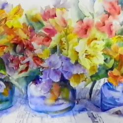 """Flower Power 13""""x29"""" watercolor"""