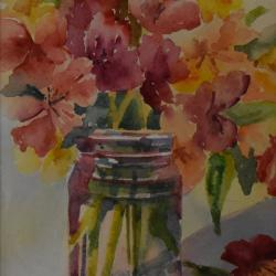Jar Full of Posies, watercolor on cold press paper