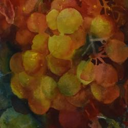 Grapes Ripening, watercolor on cold press paper