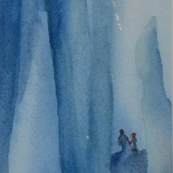 Exploring the Ice Caves, watercolor on cold press paper