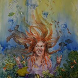 "I Wanna Be a Mermaid 16""x20"" watercolor"