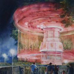 """NIght at the Carnival 20""""x30"""" watercolor"""