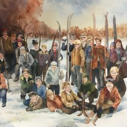 "Ski Team 20""x30"" watercolor"