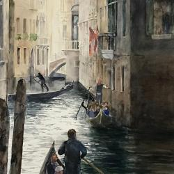 """The Floating City 20""""x30"""" watercolor"""